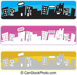 silhouettes buildings background