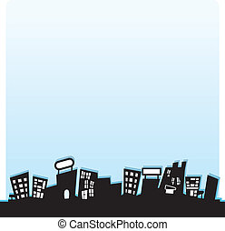silhouettes buildings background - silhouettes sky scrapper...