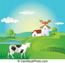 Rural landscape with cow and windmill