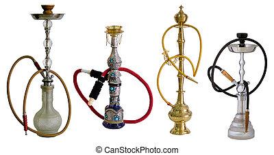 árabe, water-pipe, también, conocido, narguile