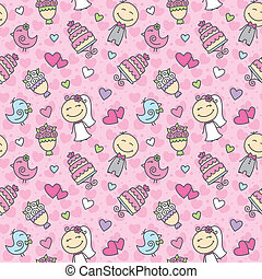 wedding pattern - wedding cartoon seamless pattern with...
