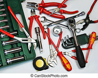 Assorted tools on white background