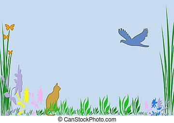 a spring scene in clip art