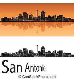 San Antonio skyline in orange background in editable vector...