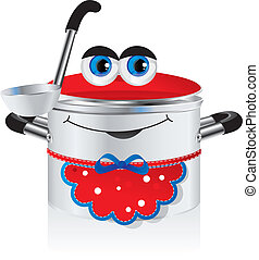 happy pan - Cheerful childrens picture - a happy pan in an...