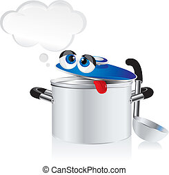 weary pan - funny cartoon - weary pan with a ladle
