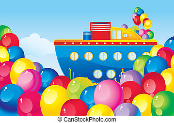 balloons and a ship - Children's picture with colorful...