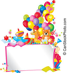 Childrens holiday: toys, balloons, gift boxes, and Frame for...