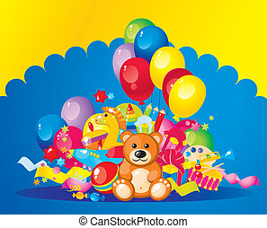 children toys - colorful children toys and balloons