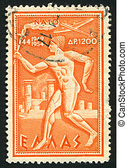 NATO - GREECE - CIRCA 1954 stamp printed by Greece, shows...