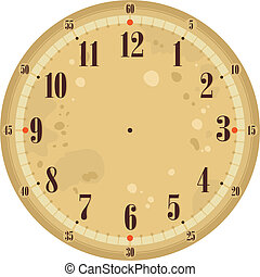Vintage Clock Face - Vintage clock face template with old...