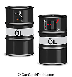Oil crisis barrels - German - Isolated oil barrels with fuel...