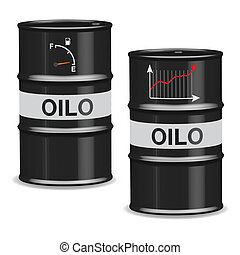 Oil crisis barrels - Italian - Isolated oil barrels with...