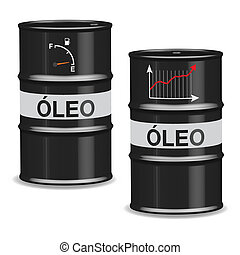 Oil crisis barrels - Portuguese - Isolated oil barrels with...