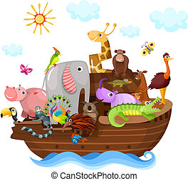 Noah's Ark - vector illustration of a cute 	Noah's Ark
