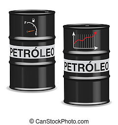 Oil crisis barrels - Spanish - Isolated oil barrels with...