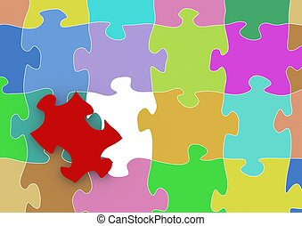 Red puzzle - Rendered artwork with white background