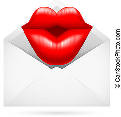 Post Envelope with Kiss - Illustration of a Post Envelope...
