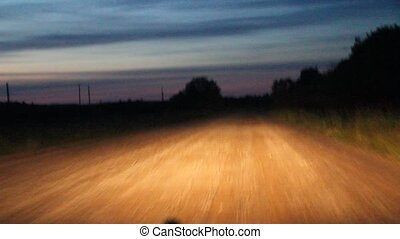 night dirt road from a moving - video night dirt road from a...