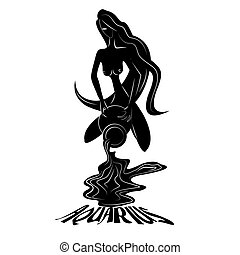 Aquarius - Elegant zodiac signs silhouettes isolated on...
