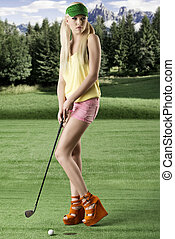 sexy golf player woman, she looks at left - pretty blonde...