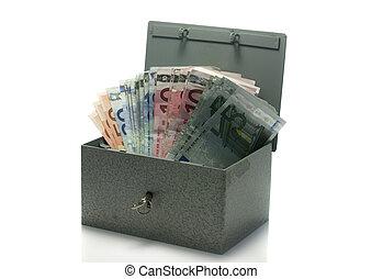 strongbox with euro money