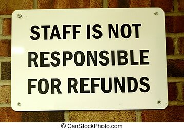 """""""STAFF"""" SIGN - A sign in black lettering indicating that the..."""
