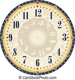 Vintage Clock Face - Vintage clock face template with zodiac...