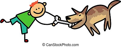 Dog Kid - Cute stick figure illustration of a happy little...