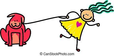 Dog Kid - Cute stick figure illustration of a happy little...