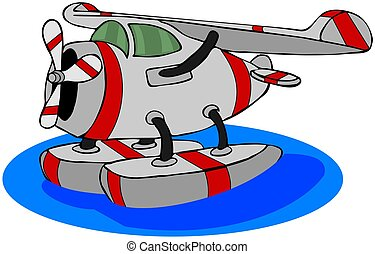 Seaplane - This illustration depicts a gray seaplane with...