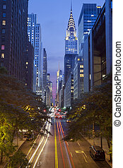 42nd street in Manhattan. - Image of the 42nd street in...