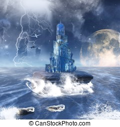 fantasy seascape with glass tower
