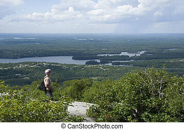 Man in the Mountains of northern Ontario - A male hiker...