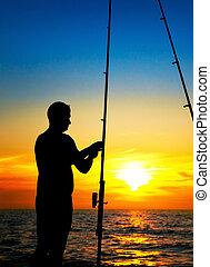 hermoso, niño, pescadores, ocaso, pesca