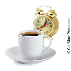 Morning coffee - Coffe cup and alarm clock isolated on white