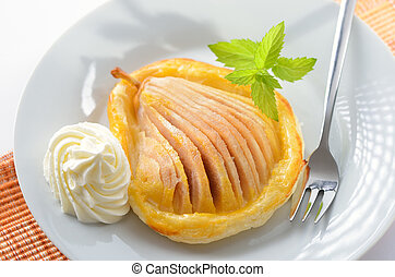 Pear on puff pastry