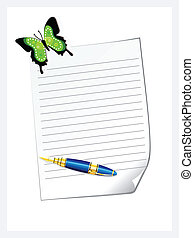 abstract letter pad with pen vector