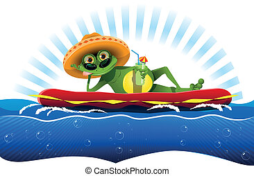 frog on a water mattress - illustration green frog on a...