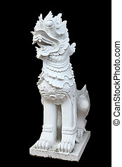 Sculpture of lion asian style on black