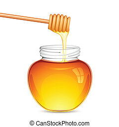 Fresh Honey - illustration of drizzler dripped in honey with...