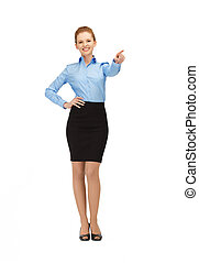 stewardess pointing her finger - picture of smiling...