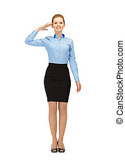 stewardess making salute gesture - happy and smiling...