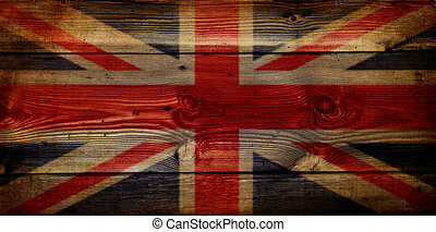 GB Union Jack Flag on grunge wooden background - Grunge...