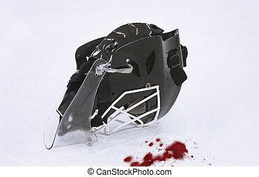 Ice Hockey Goalie Mask - Blood on the ice