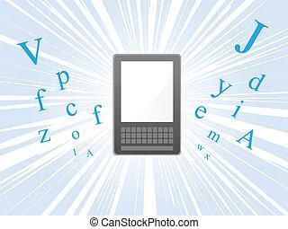 Ereader burst - Ereader floating and bursting with letters...