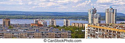 View of the city from a height. Samara, a city on the Volga...