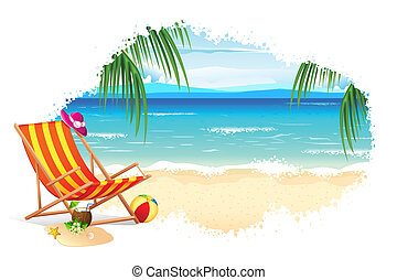 Sea Beach - illustration of recliner in sea beach with palm...