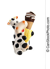 chocolate ice cream with portagelato in the shape of cow