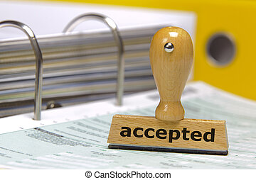accepted - rubber stamp marked with accepted